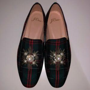 NWOT J. Crew Tartan Plaid Embellished Loafer Flats